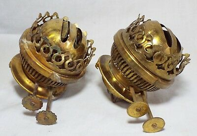 Pair of Old Antique SHERWOOD Brass EUROPEAN Double Wick OIL LAMP BURNERS