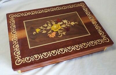 Old Vintage ITALIAN Handmade INLAID WOOD Floral JEWELRY MUSIC BOX Swiss Movement