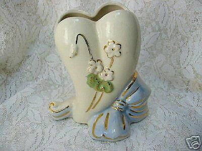 American Bisque Blue Bow/Heart Floral Vase