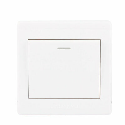 AC250V 10A 2 Gang 1 Way On/Off LED Lamp Indicator Press Button Switch Wall Plate