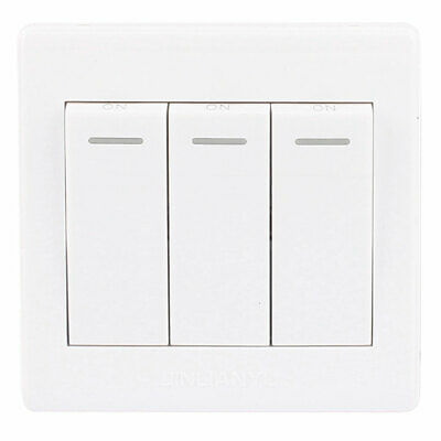 AC 250V 10A 1 Gang 3 Way On/Off LED Indicator Press Button Switch Wall Plate