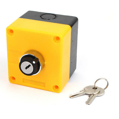 600V 10A 2 Position Plastic Case Box Keylock Rotary Selector Switch Station