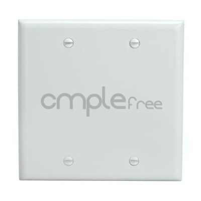 Blank Double Wall Plate White Covers 2 Gang Unbreakable Bendable Face Plate