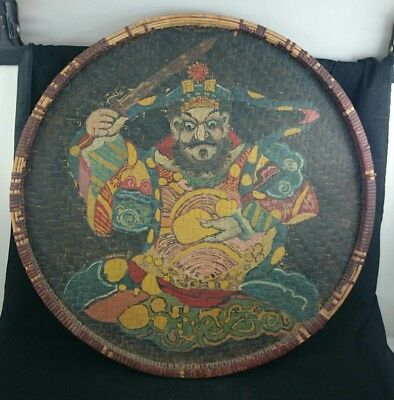 ANTIQUE CHINESE RATTAN Woven Hand Painted TEA TRAY Wooden Bamboo Figure ART