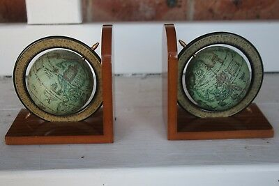 Lovely World Globe Book Ends Swivel Map Wooden Base Bookends