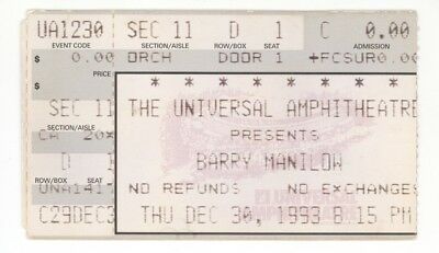 RARE Barry Manilow 12/30/93 Los Angeles CA Universal Amph Concert Ticket Stub!