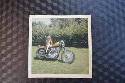 Vintage Photo Cute Girl on 1960s Harley Davidson Motorcycle 859