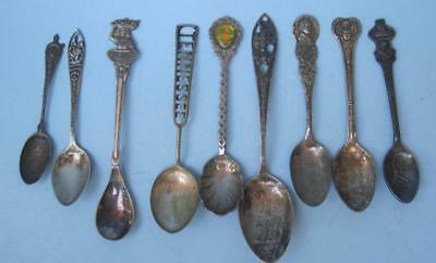 9 Pcs Vintage Souvenir Spoons Some Sterling TN LA UT LDS Temple MO Variety