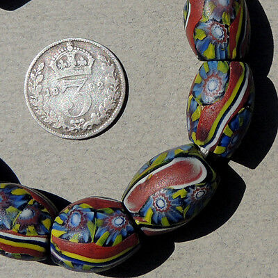 10 old antique venetian oval millefiori african trade beads #3970