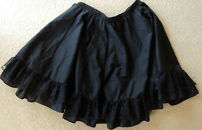 "black dance petticoat  30"" relaxed waist--length is 17"" + 5"" ruffle with lace"
