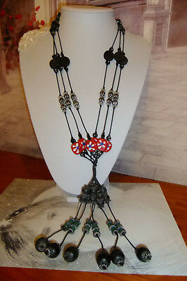 Jewellery Vintage Glass & Wooden Beaded LONG Necklace ~ Handmade ~ lots of beads