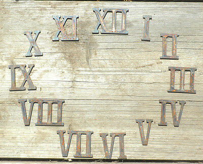 """2"""" Rough Rusty Metal Vintage Roman Numeral Number Full Clock Face Set (1-12)"""