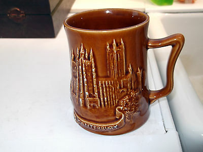 Brown Eastgate Pottery Withernsea Mug  Canterbury Cathedral Part Of Kent Map