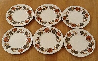 Vintage Side Plates Susie Cooper Art Nouveau Brown Fine Bone China x 6 1960s