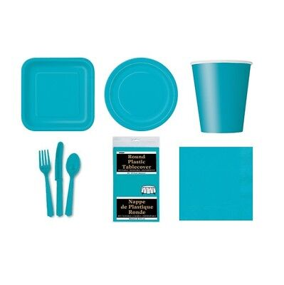 CARIBBEAN TEAL Party TABLEWARE Disposable Birthday Supplies (Turquoise){1C}