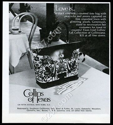 1969 Enid Collins peacock posy handbag purse photo vintage print ad
