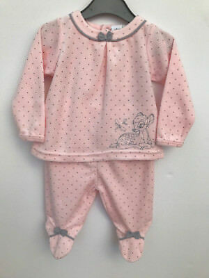New! Baby Girl Bambi Disney Velour Trousers Top 2 Pc Set 5-8lbs NB 3 6 Months