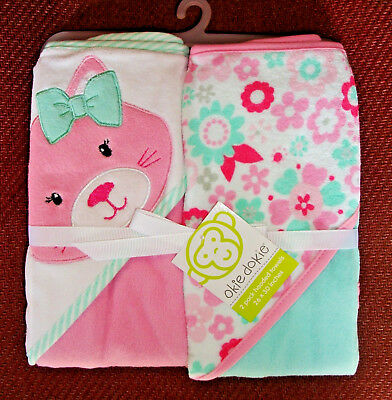 "Okie Dokie 26 X 30 2 Pack Hooded ""cat"" Bath Towels ""new"""