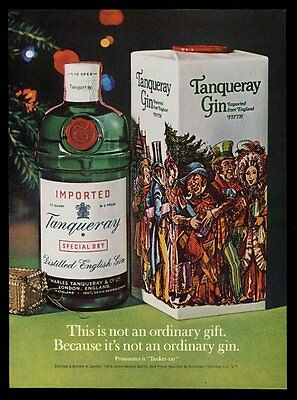 1973 Tanqueray Gin bottle and Christmas gift box photo vintage print ad