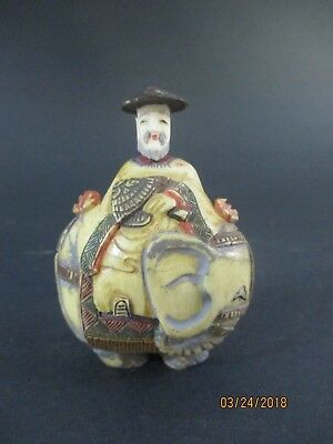 Antique Oriental Carved And Painted Elephant And Nobleman Snuff Bottle