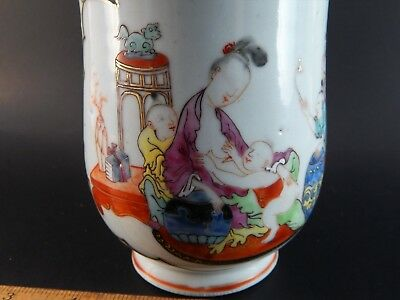 Antique Chinese Export Famille Rose Tankard Mug Depicting Mother Child C. 1750