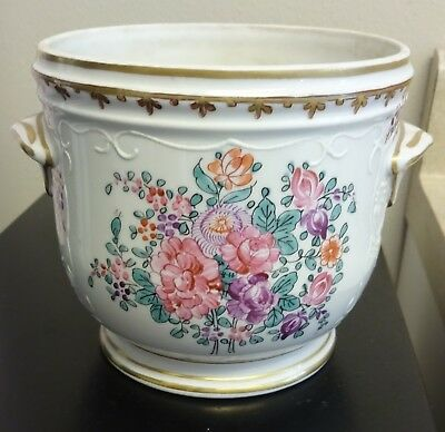French Antique Planter: Porcelain  Painted  Flowers Gold embossed Cache Pot