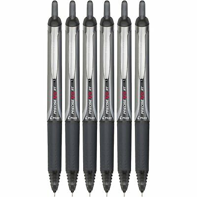 Pilot Precise V5 RT Black Ink Retractable Rolling Ball Pens Extra Fine Point 6PK