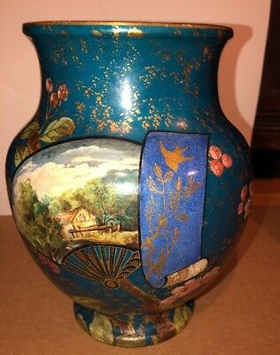 Antique Asian Vase With Fans & Flowers- Chinese/ Japanese