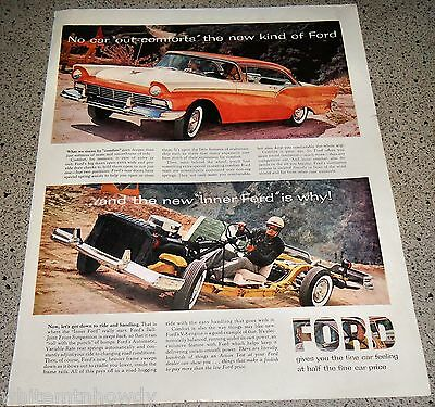 1957 FORD Fairlane AD w/ Chassis Photo Original Advertising