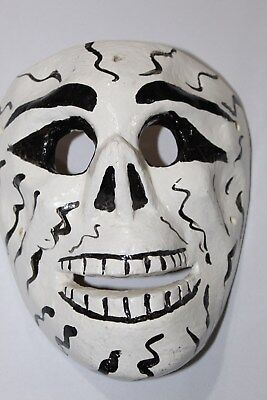 328 SKULL MEXICAN WOODEN MASK calavera hand carved and painted artesania decor