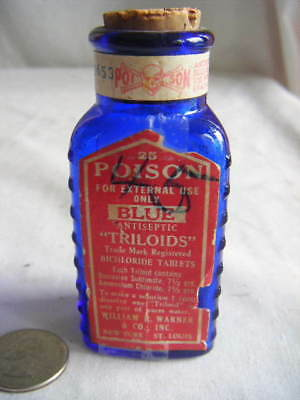 old cobalt poison 3-labels+emb.Triloids+triangle pills!