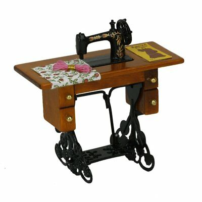 Retro Miniature Dollhouse Sewing Machine With Cloth New In Box 1/12 Scale US