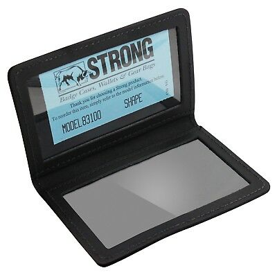 ASR Federal Heavy Duty Black Leather Double ID Holder - Fits 2 Standard IDs