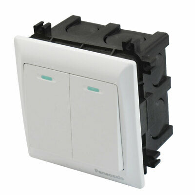 Home Office Two Gang White Case Wall Panel Switch AC 250V 10A