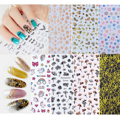 Multi-colors 3D Nail Stickers Holographic UV Gel Manicure Decoration Tips Tools