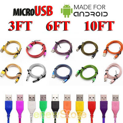 LOT 3Ft 6Ft 10Ft  Micro USB Charger Cable Cord Sync For Android Cell Phone Lot