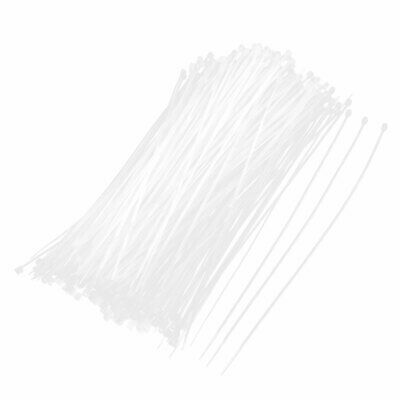 500 Pcs White 2mm Wide 200mm Long Cable Wire Management Zip Ties Straps