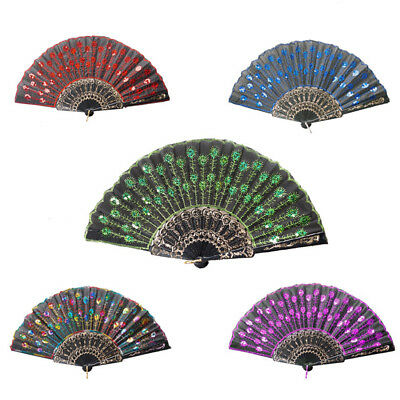 Chinese Sequin Peacock Tail Feather Folding Hand Fan with Black Gold Embroidered