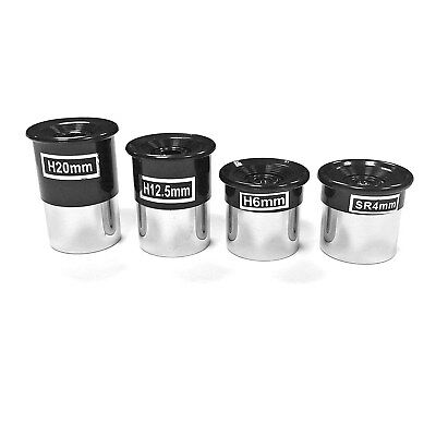 "4 Piece Eyepiece Lens Set Astronomy Telescope 4mm, 6mm, 12mm, 20mm 1.25"" Inch"