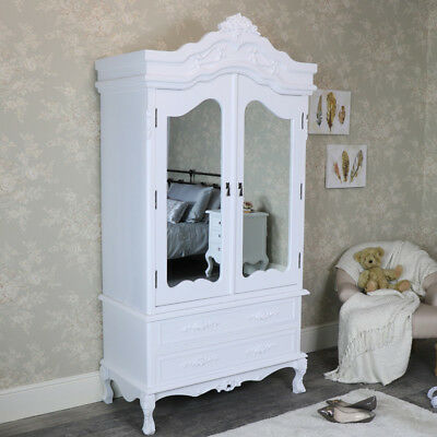 White Wooden Mirrored large Wardrobe French shabby chic bedroom Furniture ornate