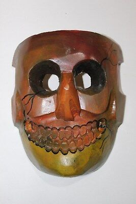 409 COLORED DEATH MEXICAN WOODEN MASK skull calavera hand carved & painted