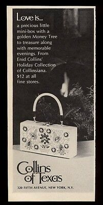 1969 Enid Collins Money Tree birds box purse handbag photo vintage print ad