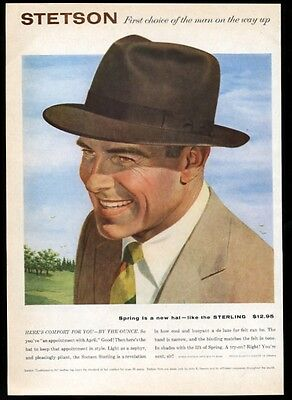 1956 Stetson Sterling fedora men's hat fashion vintage print ad
