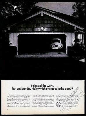 1965 VW Beetle classic car photo Stays Home Saturday Night Volkswagen 13x10 ad