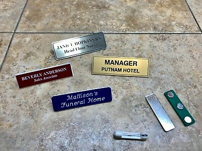 Name Badge Engraved Tag Personalized Magnet Or Pin Identification Employee