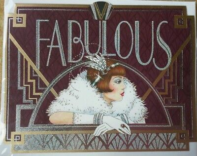 Clintons Birthday Card Large Art Deco Glitter Crystal New Sealed