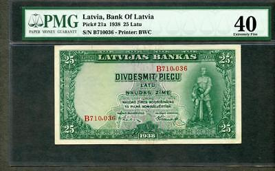 *1938 LATVIA, BANK OF LATVIA 25 LATU PICK #21a PMG 40 PLEASE LQQK!!*