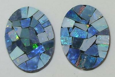 9.74ct Pair Australia Opal Mosaic Doublet Ovals 18x13mm SPECIAL