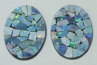 9.47ct Pair Australia Opal Mosaic Doublet Ovals 18x13mm SPECIAL