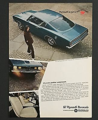 1967 Plymouth Barracuda Advertisement Sports Hardtop Photo Vintage Car Print AD